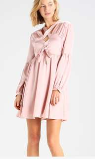 Lost Ink Lace up Fit and Flare Pink Dress