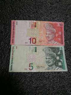 Rm10,Rm5  11th Zeti signature rare (first time printing without secutity line) rare