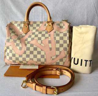 Authentic LV speedy 30 bandouliere Tahitienne Rose