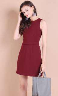 FELICITY STRUCTURED WORK DRESS IN BURGUNDY