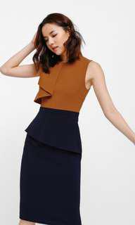 Klarana Contrast Asymmetrical Peplum Dress in Camel
