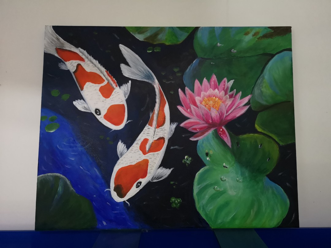 Acrylic Painting Koi Pond With Lotus Flower Reka Bentuk Kraf