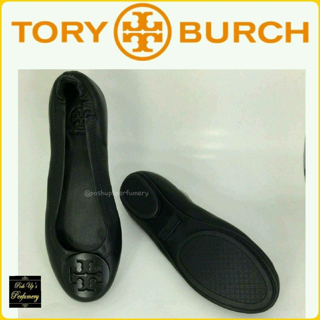 9519767f539b All Black Tory Burch Minnie Travel Flats Size 8-3