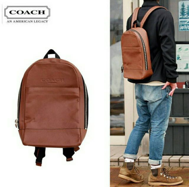 f18ea3a8c1f01 Authentic Men Coach Charles Slim Backpack in Sport Calf Leather ...