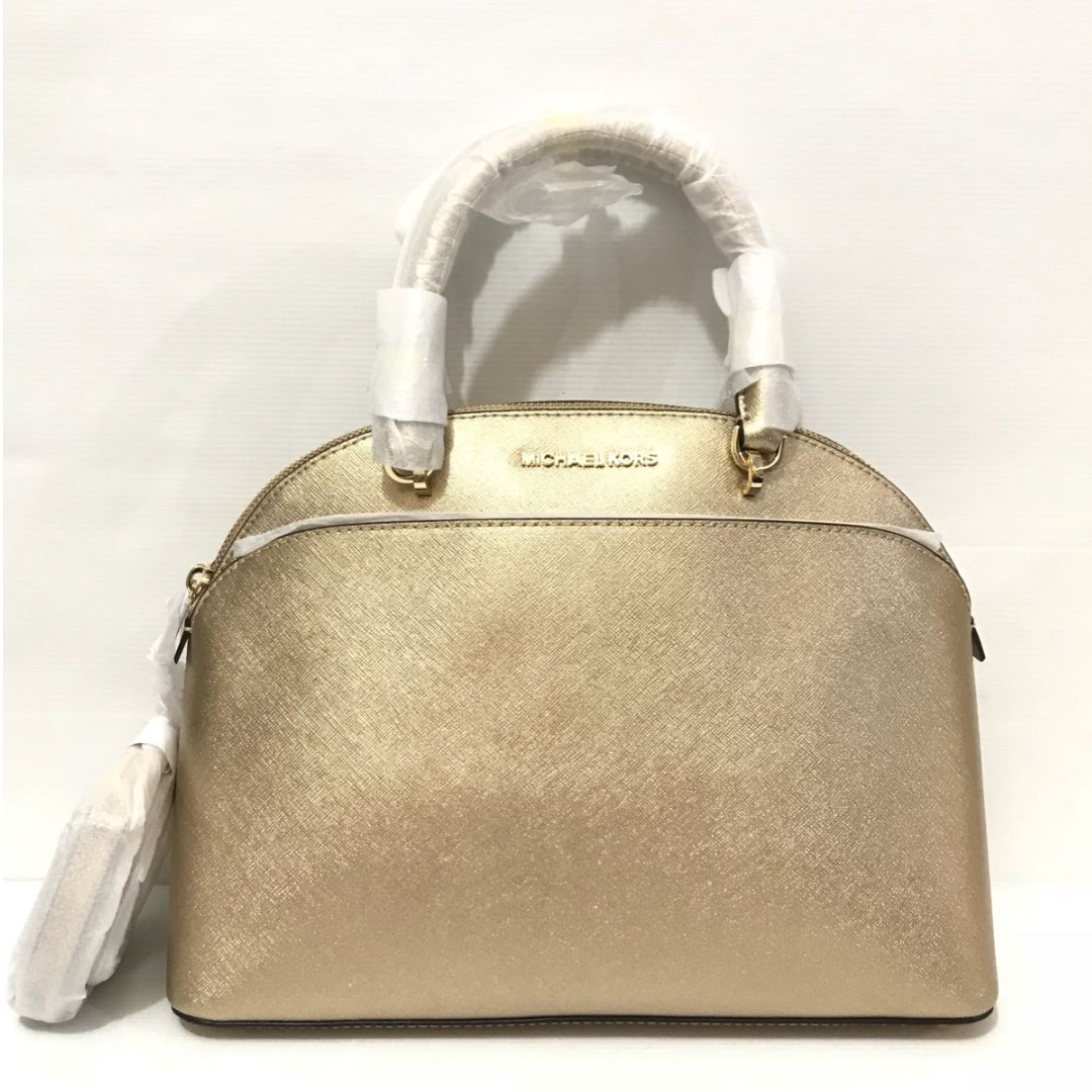 bc006b7f17818e Authentic Michael kors emmy large dome satchel bag - pale gold ...
