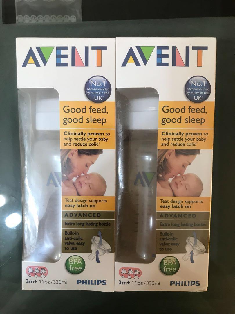 Avent Feeding Bottle 330ml Babies Kids Nursing On Philips New Natural Skin Soft Nipple 2 Pack Medium Flow 3m Photo