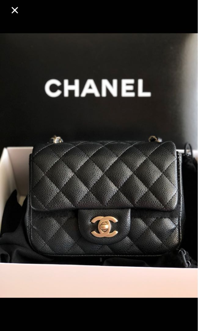 5eb4241631b7 Black Chanel mini square classic flap, Luxury, Bags & Wallets ...
