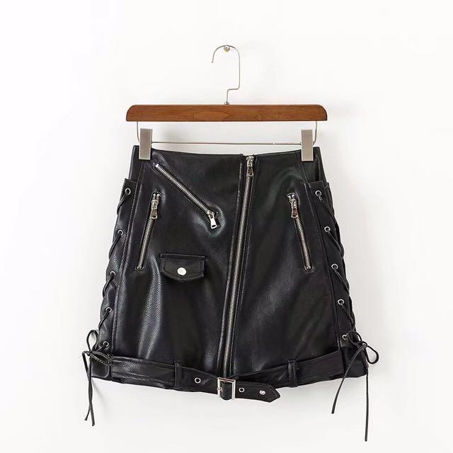 7ceb06ea8dd Black leather skirt basic punk cool skirt short mini midi skirt ...