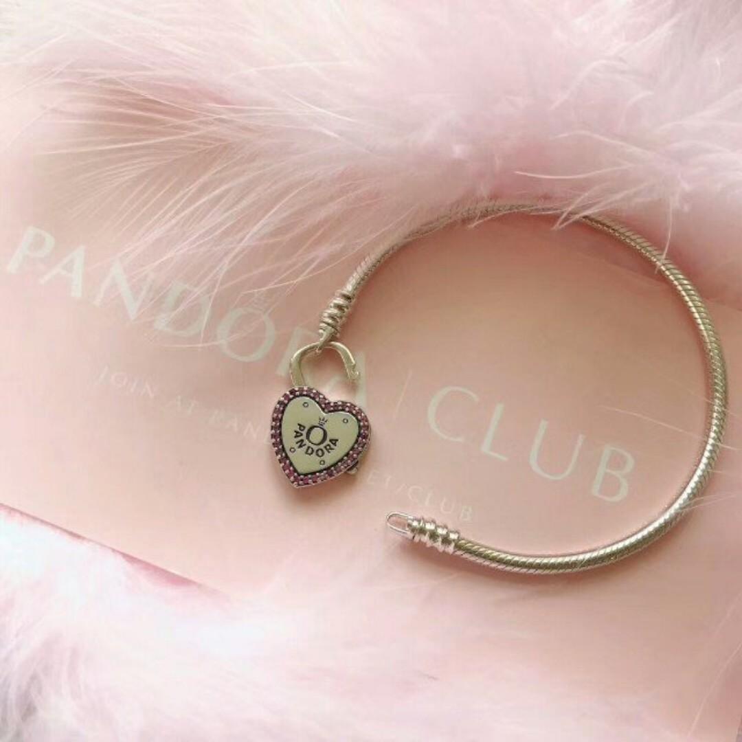 16b18297b BNIS Pandora Moments Silver Lock Your Promise Heart Clasp Bracelet ...