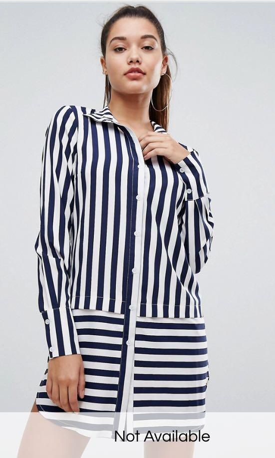 abf20bd2fd9 BNWT Boohoo Striped Shirt Dress