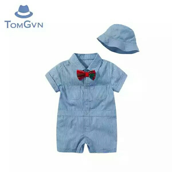 7e8131a74 Bobby Boy Short-sleeved Denim Onesie with Bow Tie   Hat