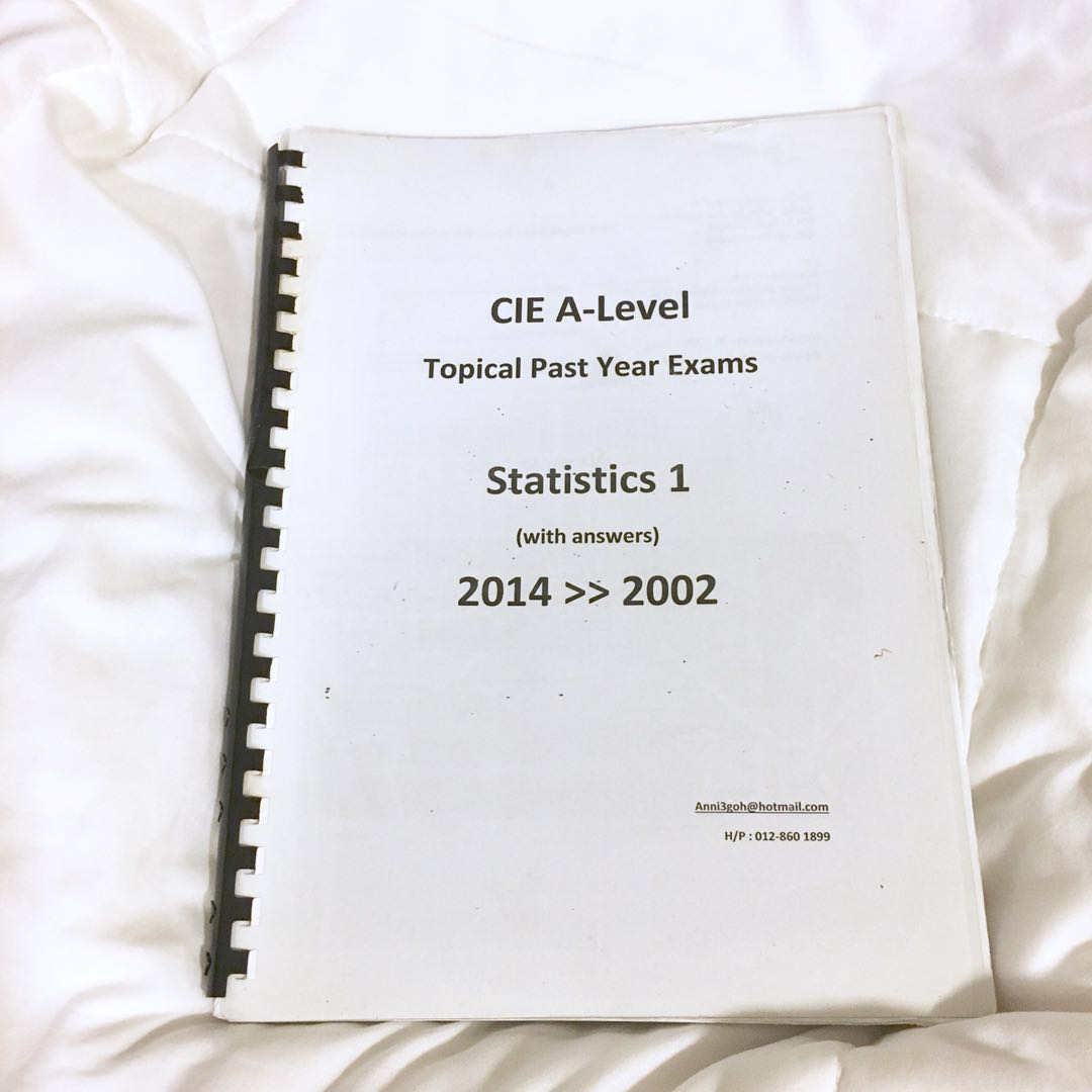 CIE A LEVEL MATHS STATISTICS TOPICAL PAST YEAR PAPER