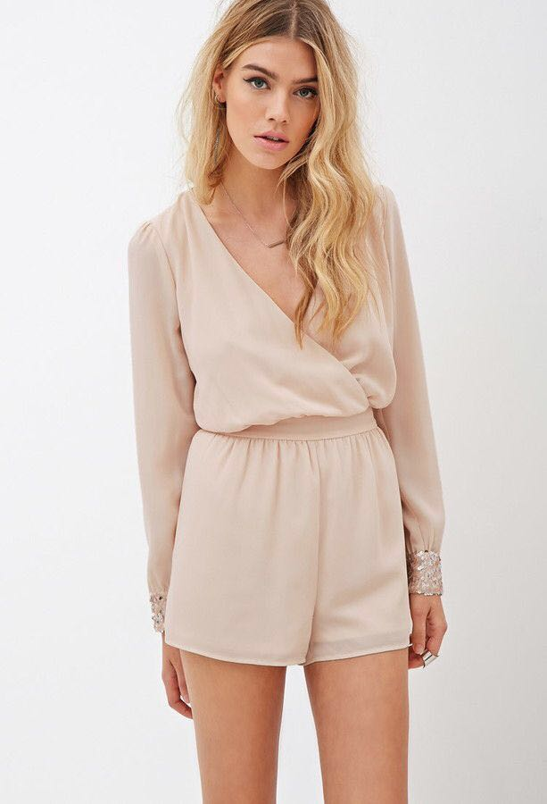 a2ddddee088f Forever21 F21 Nude Beige Wrap Romper, Women's Fashion, Clothes ...