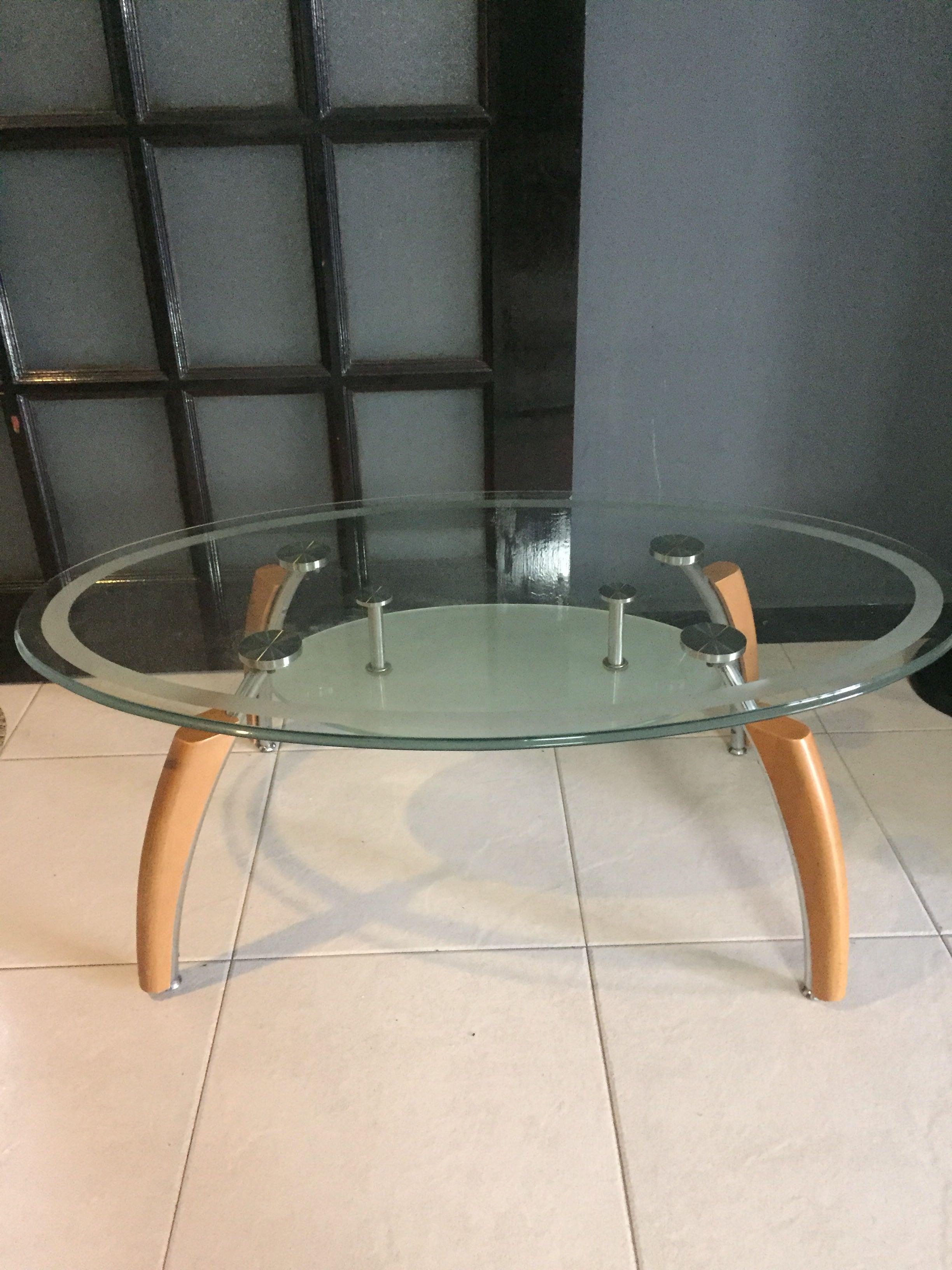 Glass Coffee Table Oval Shape Furniture Tables Chairs On Carousell