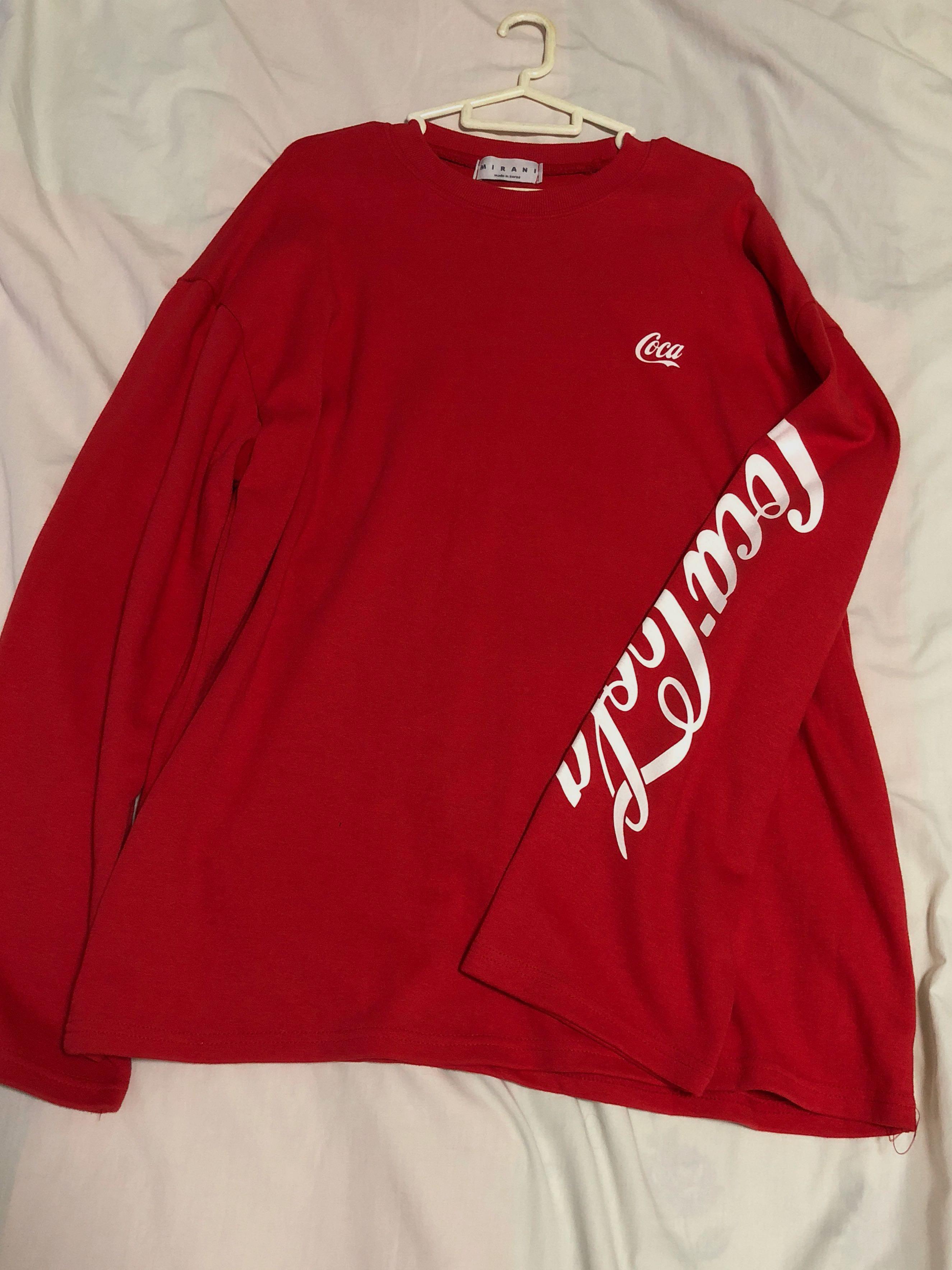 0e1a7ad37ab Korea oversized red Coca Cola sweater   pullover