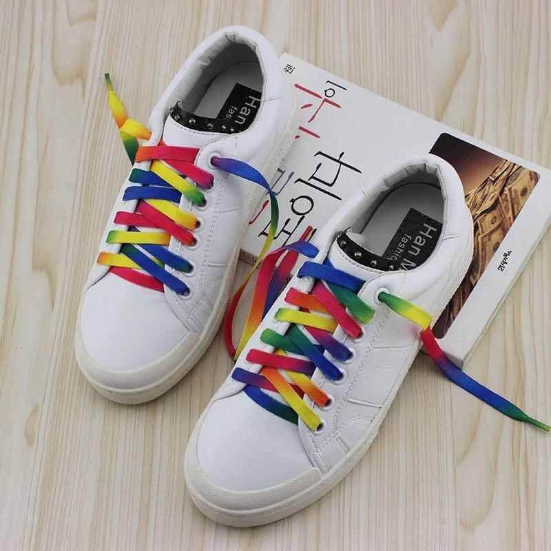 80a20bc72c7 Korean White sneakers with Rainbow shoelace - Size 36, Women's ...