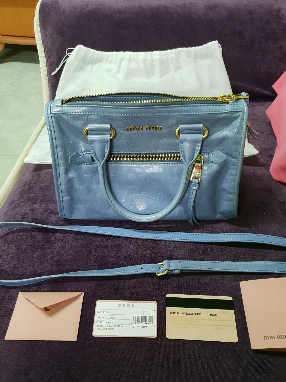 Miu Miu Vitello Shine (Mare in colour), Luxury, Bags   Wallets ... 53f41361d8