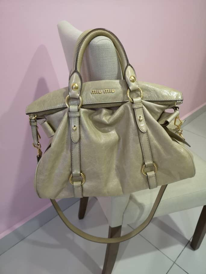 4a8a8ea63824 Miu Miu Vitello Lux Mini Bow Satchel   Bag