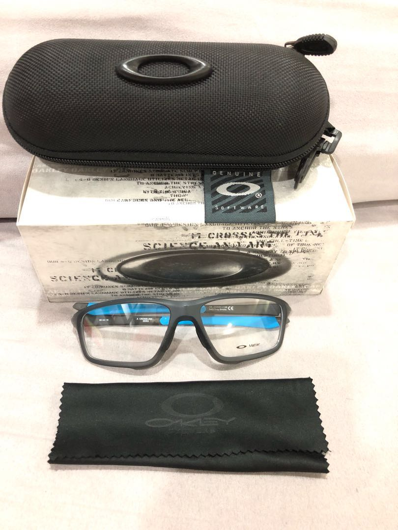 2a790977c1 Oakley crosslink Zero (Matt black frame with blue rubbers)