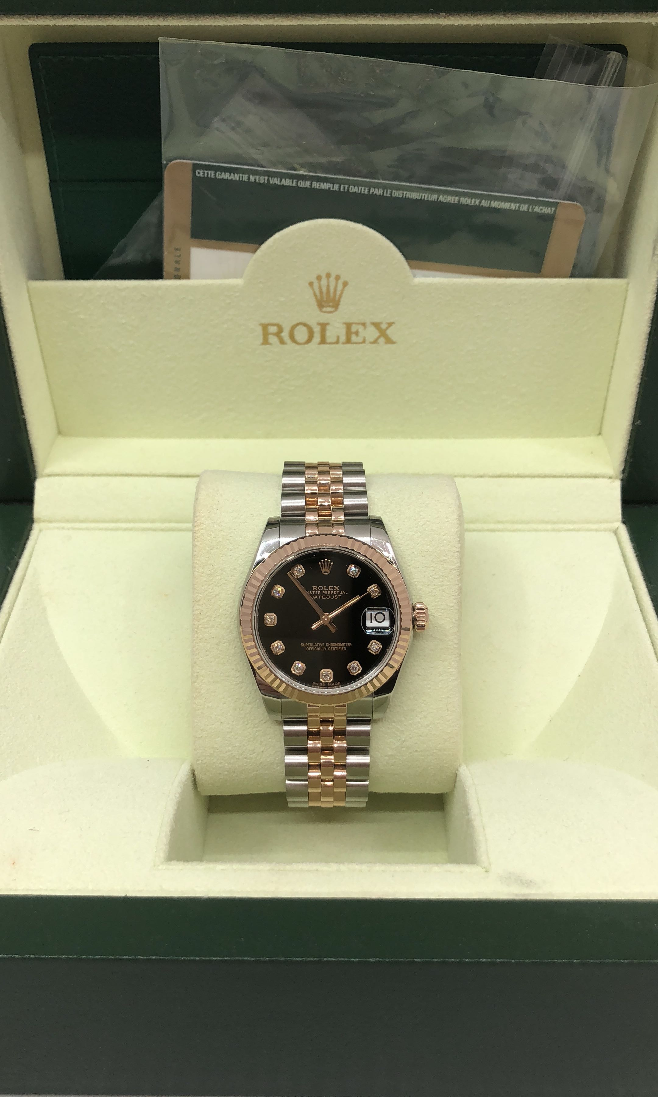 Rolex 178271 Boy Size Rose Gold Black Dial With Diamond On Carousell