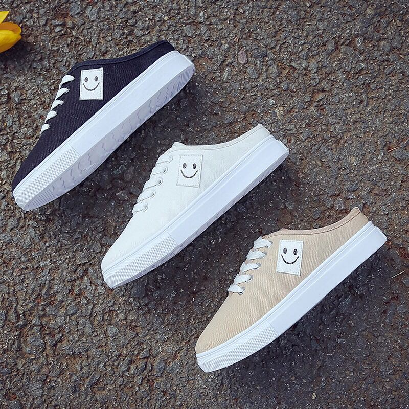 1c6cba6f95cb Side Smiley Face Logo Shoelace Tie Canvas Slot In Sneakers
