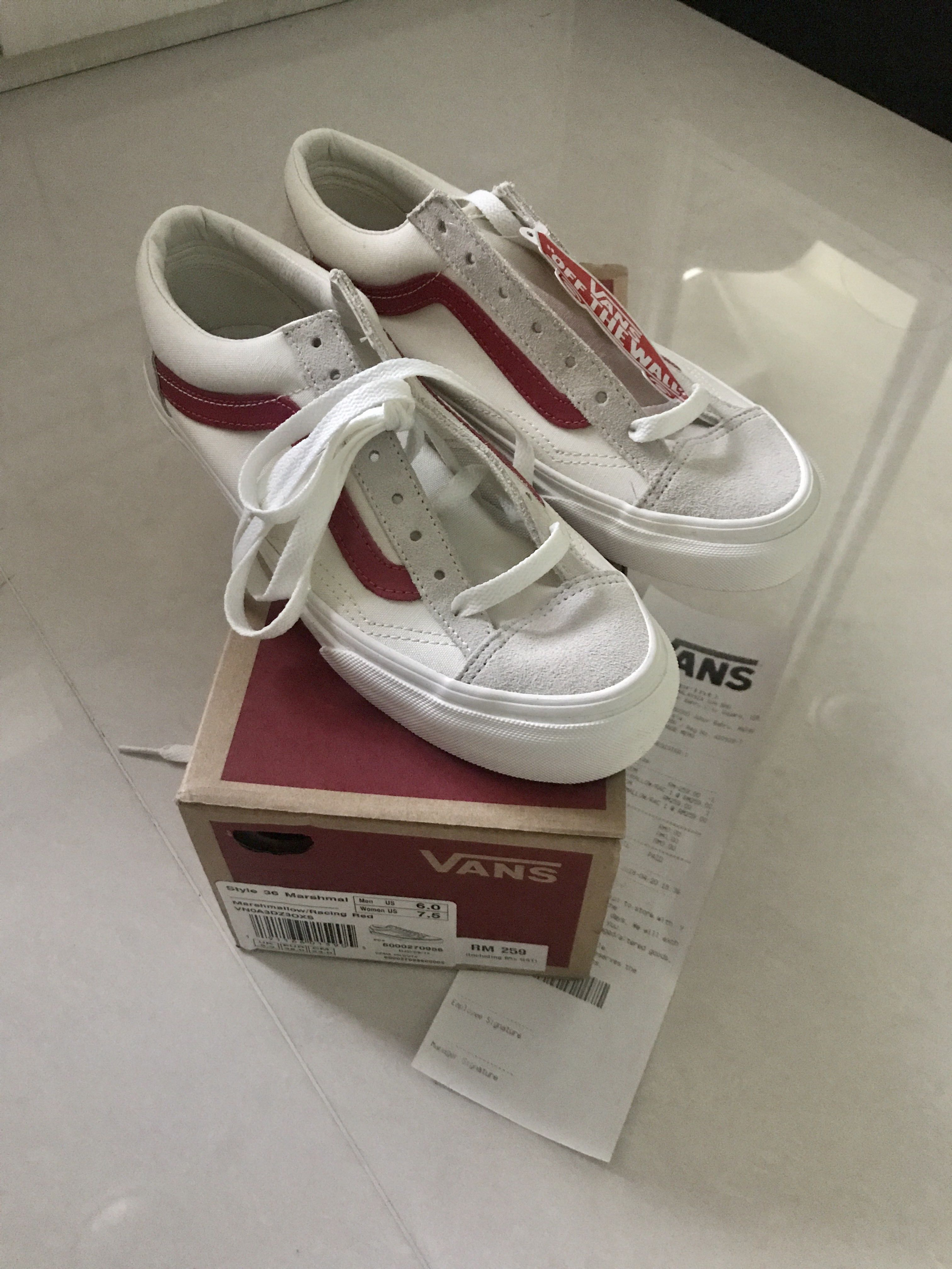 23b2035e1e Vans Style 36 Marshmallow  Racing Red