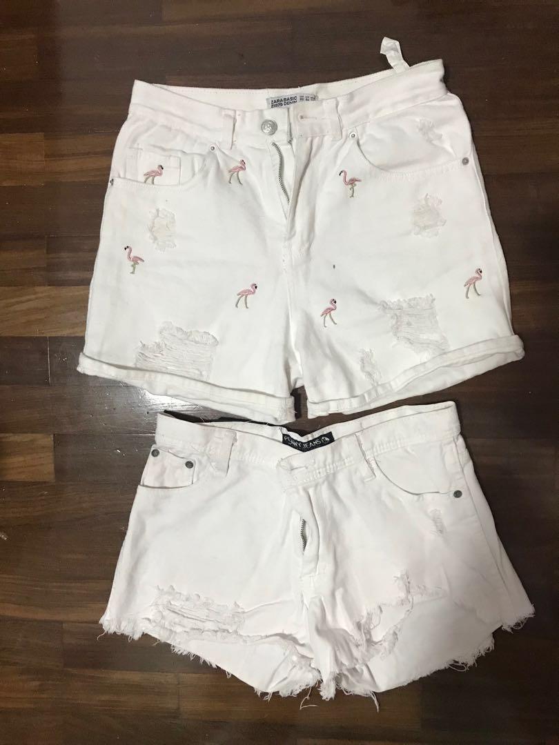 c553d563 Zara flamingo white shorts, Women's Fashion, Clothes, Pants, Jeans ...