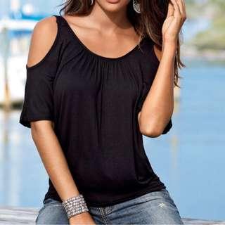 露肩衫 cold shoulder tee womens top 寬鬆圓領短袖上衣 黑色T SHIRT 最後一件 M碼 有彈性