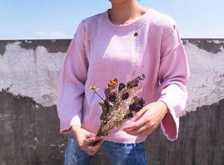 🚚 粉紅刷破毛衣