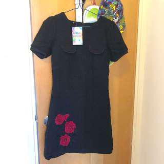 Desigual 黑色針織 短袖裙 black knit dress short sleeve
