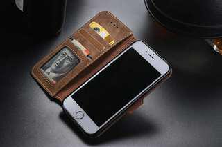 🚚 Brown suede flipcover phone case apple iphone 7+ 8+