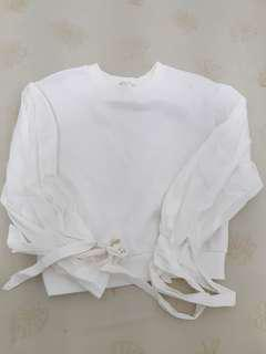 White Puffy Sleeves Sweater