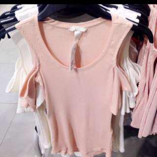 Off Shoulder Top H&m Pink