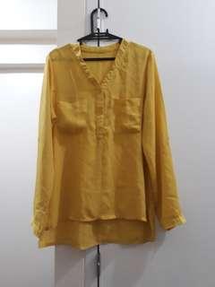 Yellow Chinese-Collar Chiffon Blouse