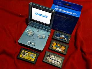 Metallic Blue Gameboy Advance Sp Brighter AGS 101 GBA with free 4 Game Carts