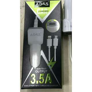 USB fast charger  ADSS 2 in 1 spiral untuk di mobil