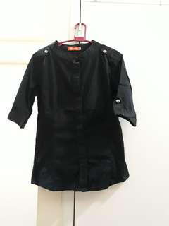 Black Closed-Neck Buttoned Blouse