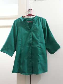 Green Chinese-Collar Buttoned Blouse