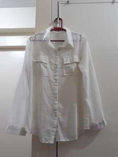 White Button-down Chiffon Blouse