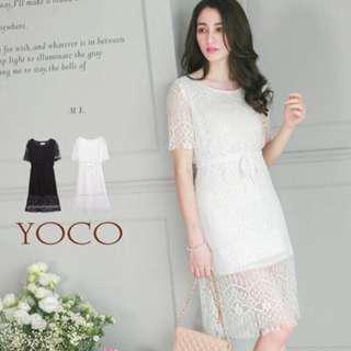 東京著衣 購入 yoco 短袖 蕾絲 綁帶 收腰 顯瘦 連身裙 連衣裙 長洋 洋裝 長裙 蕾絲下擺 簍空 鏤空