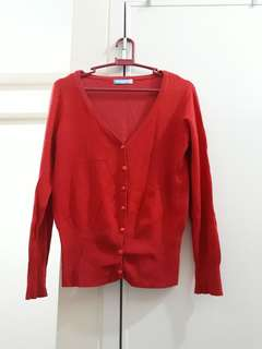 Coral Red Knitted Buttoned Sweater