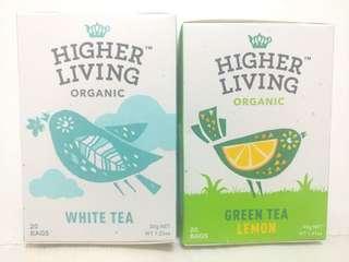 Higher Living Organic - White Tea/Green Tea 有機白茶/綠茶系列, 20 Teabags/box  Made In UK, $28/box (Orig $52/box)