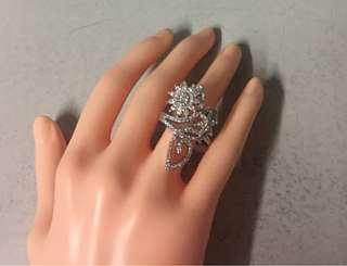 Silver plated rhinestone ring