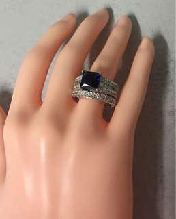 Silver plated blue c/z ring set