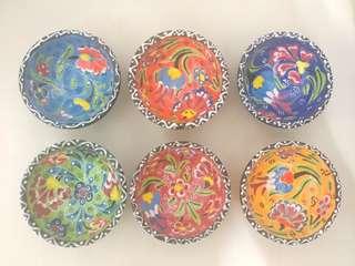 土耳其手製碗仔,凸花紋,色彩豐富 $35/隻 (全要$190)