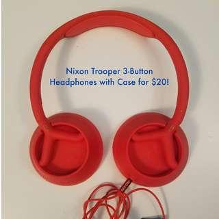 Nixon Trooper 3-Button Headphones with Case