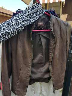 Brown Danier leather jacket (3xs)