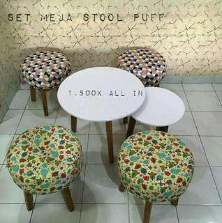 Set meja plus stool puff