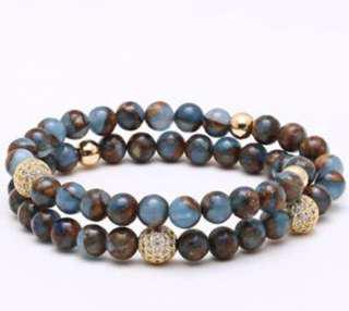Men's 2 piece beaded bracelets
