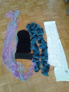 Assortment of scarves and winter protection